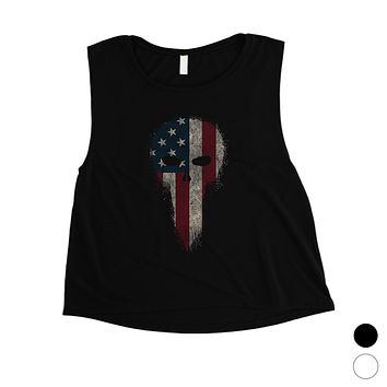 Vintage American Skull Womens Crop Tee Cute 4th of July Outfits