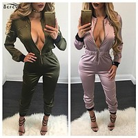 Hot Ladies One Piece Outfits Jumpsuits Rompers 2016 New Long Sleeve Bodycon Front Zipper Bodysuit Overalls feminino mono mujer