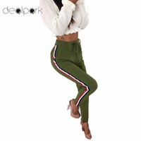 2018 Spring Fashion Trousers for Women Side Striped Pants Trousers Casual High Elastic Waist Drawstring Slim Pencil Pants female