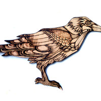 Natural finish wood Crow Wall Hanging, pyrography (Wood burning), Raven, Wall art, Raven decor, Crow art, woodland decor, goth decor,pagan