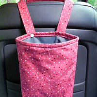 Car Trash Bag with Water Resistant PUL Lining for Head Rest Dark Rose Polka Dot & Grey Lining Washable Car Trash Bag/Waste Bag/Refuse Bag
