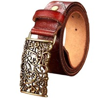 Floral metal buckle Wide belts