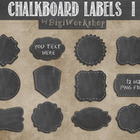 "Chalkboard labels clipart: Digital labels ""CHALKBOARD LABELS I"" Pantry Labels, Bathroom Labels, Office Labels, Organization Tags."
