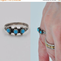 ON SALE Vintage Native American Sterling Silver Petit Point Turquoise Ring, Zuni, Maisels Mark, Snake Eyes, Size 5 1/4, Pretty! #b312