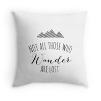 Not All Those Who Wander Are Lost Decorative Pillow Cover with Quote, Inspirational Typography Statement Pillow, Black/White, Christmas Gift