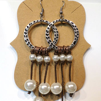 Tribal Silver Round Hammered Circle and Copper Pearl Drop Dangle Earrings - Boho Silver & Copper Pearl Earrings