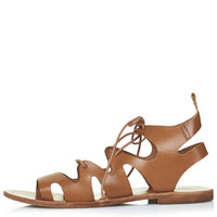 FIG Lace-Up Sandals - Tan