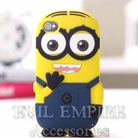 EEA 3D Silicone Rubber Gel Yellow Despicable Minion Case Skin Cover for iPhone 5C (Blue 2 Eyes)
