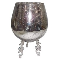 Artfully Executed Aluminum & Glass Votive Holder By Casagear Home