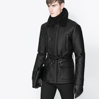 DOUBLE BREASTED QUILTED THREE QUARTER LENGTH COAT