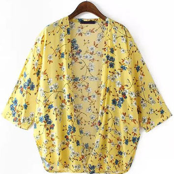 Yellow Floral Long Sleeve Open Front Top