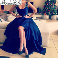 Dark Royal Blue High Low Prom Dress 2016 Scoop Neck A Line Long Sexy Open Back Long Graduation Dress For Teens Vestidos De Baile