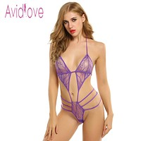 Bodysuit Women Sexy Lingerie  Underwear Sexy Lace Up One Piece Bodysuit Lingerie Plus Size