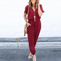 Rompers Womens Jumpsuit 2016 Autumn Sexy V Neck Short Sleeve Elastic Waist Chiffon Playsuits Casual Elegant Overalls Plus Size