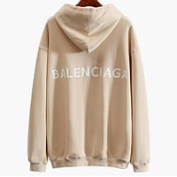 Balenciaga Trending Women Simple Back Logo Print Long Sleeve Sweater Hoodies Pullover Top(8-Color) Khaki