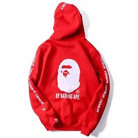 Champion x Bape co-branded autumn new embroidered logo hooded sweater Red