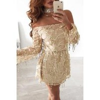 Paillette Shoulder Off Long Sleeves Dress