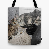 Bengal Cat Kitty Pile  Tote Bag by Distortion Art