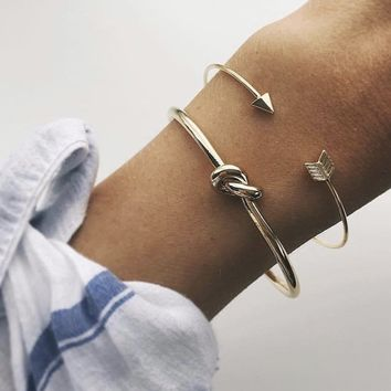 2 Pcs/Set Bohemian Retro Arrow Knotted Bracelet