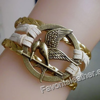 The Hunger Games - ancient bronze bracelets, yellow leather couple bracelet, fashion jewelry Mockingjay unique inspiration.