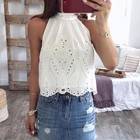 Vintage halter women tank tops White cotton sleeveless shirt tops Lace embroidery female streetwear ladies camis