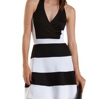 Black Combo Color Block Halter Skater Dress by Charlotte Russe