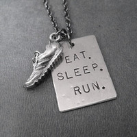 EAT SLEEP RUN with Running Shoe Running Necklace on 18 inch gunmetal chain - Running Jewelry - Cross Country Running - Cross Country Team
