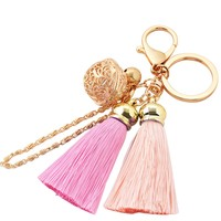BUYITNOW Soft Tassel Keychain with Bell Purse Bag Hanging Pendant Charm