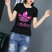"""""""Adidas"""" Fashion Casual Clover Letter Embroidery Sequin Round Neck Short Sleeve T-shirt Shirt Top Tee"""