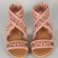 Breckelle Covina-02 Cut Out Criss Cross Open Toe Flat Sandal