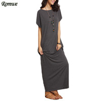 ROMWE Long Shift Dresses For Women Summer Ladies Heather Grey Round Neck Short Batwing Sleeve Casual T-shirt Maxi Dress