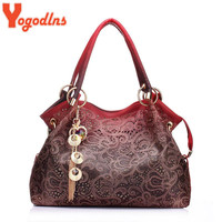 Hot brand women bag hollow out ombre handbag floral print shoudler bags ladies pu leather tote bag red/gray/blue