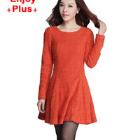 chest100-112cm high quality XL- 4XL autumn 2016 winter dress women elegant dress plus size long sleeve woolen office formal lady