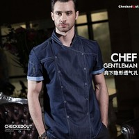 Hot 2017 summer fashion short sleeve blue denim chef jacket quality and durable hotel kitchen cook clothes for men