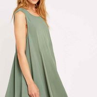Ecote Clary Open Back Dress in Khaki - Urban Outfitters