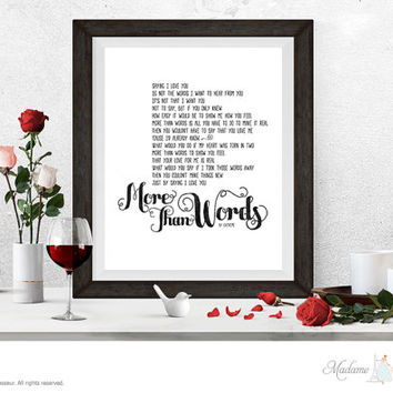 More Than Words by Extreme printable lyric printable love song Valentine printable love art prints wall decor home decor printable art