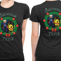 DCCK7H3 Adventure Time It Is Christmas Time 2 Sided Womens T Shirt