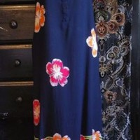 Done Down Under Womens XXL 1X Maxi Dress Navy Floral Long Lounge MuuMuu Patio