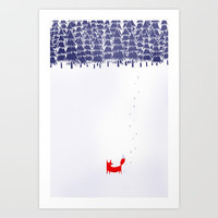 Alone in the forest Art Print by Robert Farkas