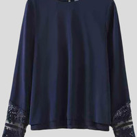 'The Namazzi' Loose Chiffon Lace Spliced Long Sleeve Double Layer Blouse