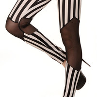 Black and White Stripes with Transparent Knees Leggings Design 449