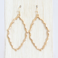Ridged Frame Earrings In Gold