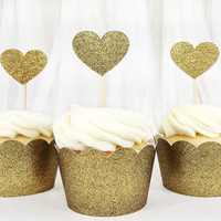 Gold Glitter Heart Cupcake Toppers - 12 Small - Party Supplies // Wedding Decorations // Birthday Party