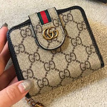 GUCCI Fashion stripe more letter leather women wallet purse handbag