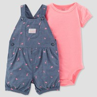 Baby Girls' 2pc Adventure Shortall Set - Just One You® made by carter's Pink/Navy