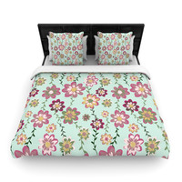 """Nika Martinez """"Romantic Floral in Mint"""" Pink Teal Woven Duvet Cover"""