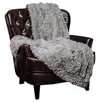 Chanasya Super Soft Long Shaggy Chic Fuzzy Fur Faux Fur Warm Elegant Cozy With Fluffy Sherpa Gray Throw Blanket - Solid Shaggy Silver Gray