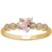 0.84 Ct Heart Shape Rose Rose Quartz 925 Yellow Gold Plated Silver Ring
