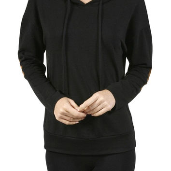 Long Sleeve Drawstring Hoodie with Sued Elbow Patch French Terry Sweatshirt Top
