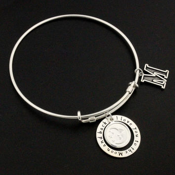 i love you to the moon and back Expandable Bangle Bracelet STERLING SILVER Initial Personalized Initial Charm Adjustable Bangle gift for her